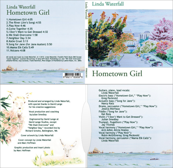 Print design for CD jacket Hometown Girl, recorded by Linda Waterfall