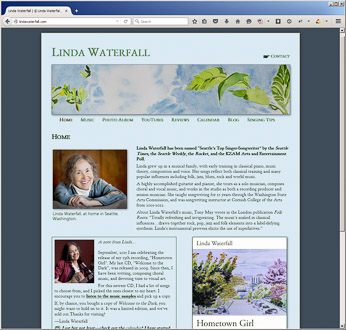 Homepage for LindaWaterfall.com. Click to visit the website.